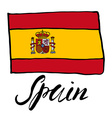 Hand drawn sketch flag of spain vector image vector image
