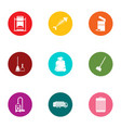 home trash icons set flat style vector image vector image