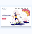 kitesurfing website landing page design vector image