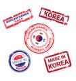 made in korea stamps set grunge sticker vector image