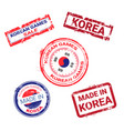 made in korea stamps set grunge sticker with vector image vector image