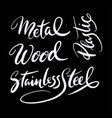 metal and wood hand written typography vector image vector image