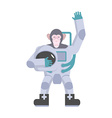 Monkey astronaut waving hand Animal suit keeps vector image vector image