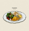 omelette with cheese salad and toasts vector image