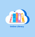 online library books in cloud on blue vector image vector image