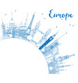 outline famous landmarks in europe with copy space vector image vector image