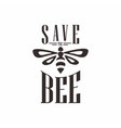 save bee logo template vector image vector image