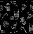 seamless pattern of silver christmas symbols vector image vector image