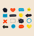 set colorful universal use brush strokes badges vector image