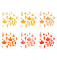 set of autumn leaves or fall foliage icons maple vector image