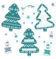 set of christmas knitted labels in the form of a vector image