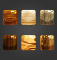 Set of shiny wooden square button vector image