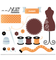 Sewing set items isolated on white vector image vector image