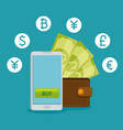 smartphone with virtual exchange financial vector image