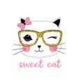sweet cat print design with slogan vector image vector image