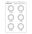 telling time telling time practice vector image vector image