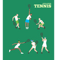 Tennis figure peoples with tennis racket set vector image vector image