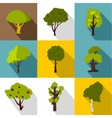 Trees icons set flat style vector image vector image