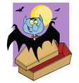 Vampire Bat Hovering Above A Coffin vector image vector image