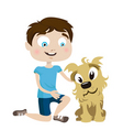 boy with dog vector image