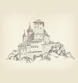 ancient castle landscape engraving tower building vector image