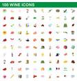 100 wine icons set cartoon style