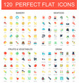 120 modern flat icon set bakery seafood vector image vector image
