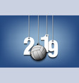 2019 new year and volleyball hanging on strings vector image vector image