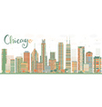 Abstract Chicago Skyline with Color Buildings vector image vector image