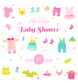 Baby Shower or Arrival Card - Baby Girl Elements vector image