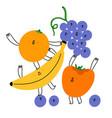 best friends joyful fruits characters vector image