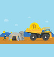 bitcoin mining concept with miner mine a golden vector image vector image