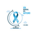 blue autism ribbon and globe international autism vector image vector image
