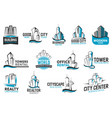 building corporate identity real estate icons vector image vector image