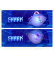 cartoon banners with shark on sea or ocean bottom vector image