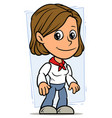 cartoon girl character with red fillet vector image