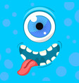 cartoon monster face halloween blue vector image vector image