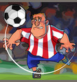 cartoon soccer player hits the ball while on the vector image