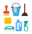 cleaning accessory washing brush and plunger vector image