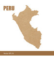 detailed map of peru cut out of craft paper vector image