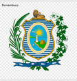 emblem of pernambuco state of brazil vector image vector image