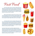 Fast food meal poster snacks drinks information vector image vector image