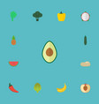 flat icons cabbage ananas jungle fruit and other vector image vector image