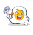 fried egg character cartoon with megaphone vector image vector image