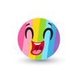 funny rainbow emoji in kawaii style vector image