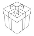 gift box with bow and ribbon 3d line art vector image