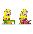 girl islamic school kids reading holy koran vector image vector image