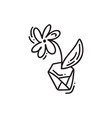 hand drawn flower outline doodle icon vector image
