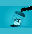 human hand covering a laptop with bird cage vector image