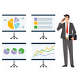 infocharts on whiteboard businessman with phone vector image vector image